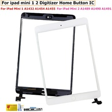 For ipad Mini 2 Touch Digitizer Screen + IC Flex Chip For ipad mini 1 Screen Glass Panel digitizer With Buttons White & Black