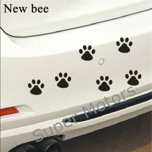 Newbee 12Pcs Cute Paw Car Sticker Dog Footprint Decals Puppy Claw for Bumper Windshield Door Mirror Motorcycle Refrigerator Wall(China)