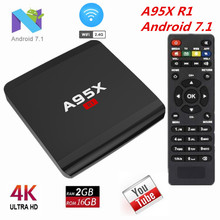 A95X R1 Android 7.1 TV Box Amlogic S905W CPU Android TV Box 2GB RAM 16GB ROM 2.4GHz WiFi 4Kx2K H.265 HDMI 2.0 Smart Android Box(China)
