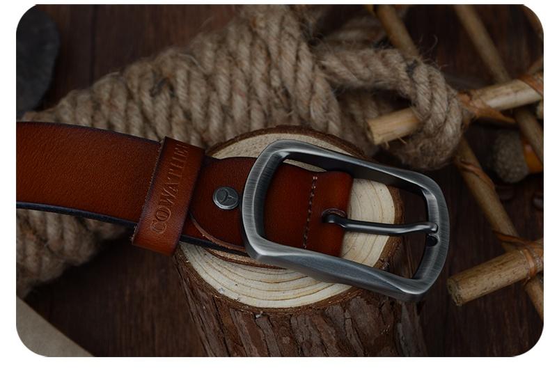 حزام COWATHER جلد طبيعي للرجال 41
