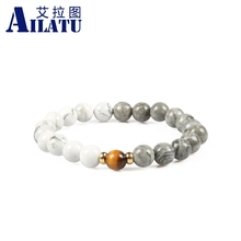 Ailatu Men' Favorite 8mm White Howlite and Grey Picture Stone Beads with A Tiger Eye Gem Charm Energy Bracelet(China)