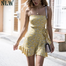 Buy NLW Yellow Vintage Print Short Dress Summer Cotton Ruffle Wrap Dress 2018 Women Spaghetti Strap Dress Femme Sexy Party Vestidos for $14.99 in AliExpress store