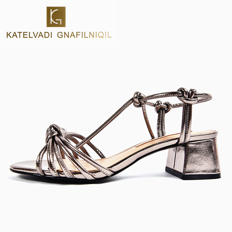 Women Shoes Sandals 2017 PU Leather Women Summer Sandals Lace Up Med Heels Retro Female Sandals Women Sandalen Vrouwen K-030<br>