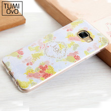 Fashion Summer Flower Pink Case For Samsung S7 edge C5 C7 Full Cover Back Phone Soft TPU Silicon Lemon Fruit Cartoon Coque Cases