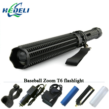 powerful telescoping cree xml t6 led torch tactical flashlight Baseball Bat baton flash light self defense 18650 lanterna(China)
