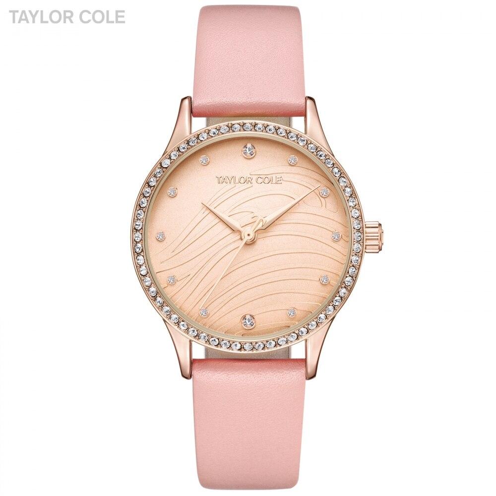 Luxury Taylor Cole Women Watches Ladies Watch Golden Pink Leather Strap Clock Relogios Remininos de Pulso Quartz Watches /TC102<br>