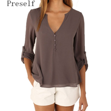 Preself Blouse Chiffon Shirt Tops Women V Neck Long Sleeved Shirt Ladies Casual Large Size Sexy New Summer  crop top
