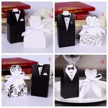 New Free Shipping Hot Sale 100pcs Bride and Groom Wedding Favor Boxes Gift Box Candy Box Decoracao Festa Wedding Souvenirs