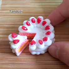 Tanduzi 10PCS Strawberry Cream Cake Resin Miniature Food Cabochons Flat Back Scrapbooking DIY Dollhouse Food Birthday Cake