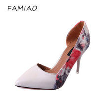 FAMIAO Women Shoes Summer Spring Satin New Thin High Heels Hot Sale Printing Flowers Classic High Quality Pointed Toe Women Pump(China)