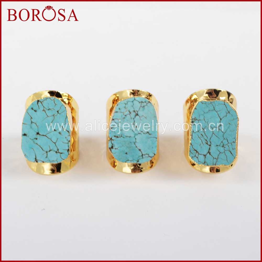 BOROSA Blue Howlite Stone Ring Free-form Stone Electroplated Gold Stone  Ring Adjustable Druzy Jewelry 8cc49628f6e1