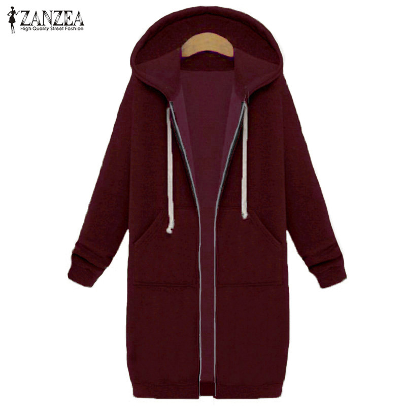 Oversized 2017 Autumn Women's Casual Long Hoodies Sweatshirt, Coat, Pockets, Zip Up, Outerwear Hooded Jacket 20