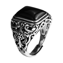 Real 925 Sterling Silver Vintage Rings For Men Natural Black Onyx Stone Square Shape Hollow Cross Flower Carved Punk Jewelry(China)