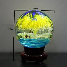 140mm Crystal ball crafts+wooden base home decoration accessories living room tv cabinet birthday gift married seniority