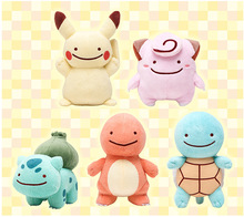 "5PCS SET Squirtle Pikachu 3.5"" Ditto Metamon Keychain Plush Toy Kids Gift Doll"