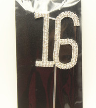 Rhinestone Sweet Sixteen 16 Number happy 16th birthday party decoration Cake Cupcake Topper