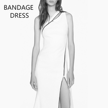 Brand new beauty card shoulder 2017 celebrity wearing tight sexy white dress, hem zipper dress, long dress, bandage, temperament