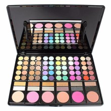Fashion 78 Colors Pro Eyeshadow Palette Makeup Powder Cosmetic Brush Kit Box With Mirror Women Make Up Tools NXH01275(China)