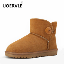 UOERVLE Brand Australia Snow Boots 100% Wool Genuine Leather Keep Warm Winter Sheepskin Boots Button Short Shoes UOP6855(China)
