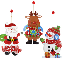 Christmas Decoration for Home Santa Claus Cartoon Wall Stickers Snowman Elk Store Window Ornaments Christmas Tree Pendants MFD98(China)