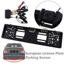 HD CCD 170 Degree Auto Parktronic EU Car License Plate Frame with Car Reversing Camera and Parking Radar System(China)
