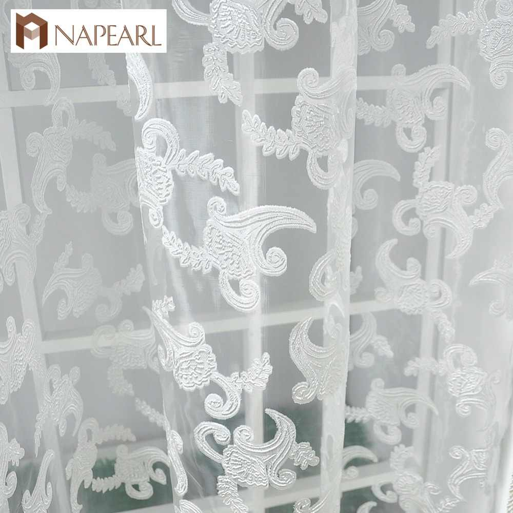 NAPEARL American style rustic jacquard design sheer panel curtains for living room window short kitchen curtain tulle organza