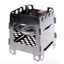 Outdoor Cooking Camping Folding Wood Stove Pocket Alcohol Stainless Steel Portable Lightweight Stove