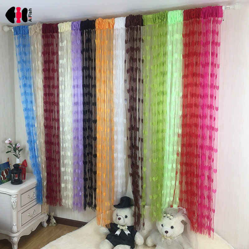 100x200 cm Soft Red Black Pink Stylish Romantic Love Heart Pattern Living Room Hotel Window Tassel String Curtain WP240C