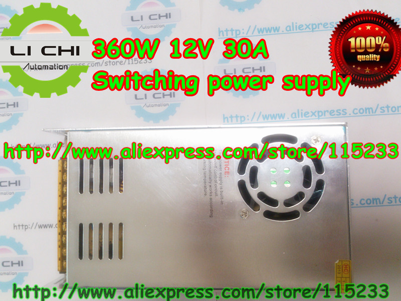 Free shipping by HK post 1pcs 12V 30A 360W Small Volume Single Output Switching power supply for LED Strip light power suply<br>