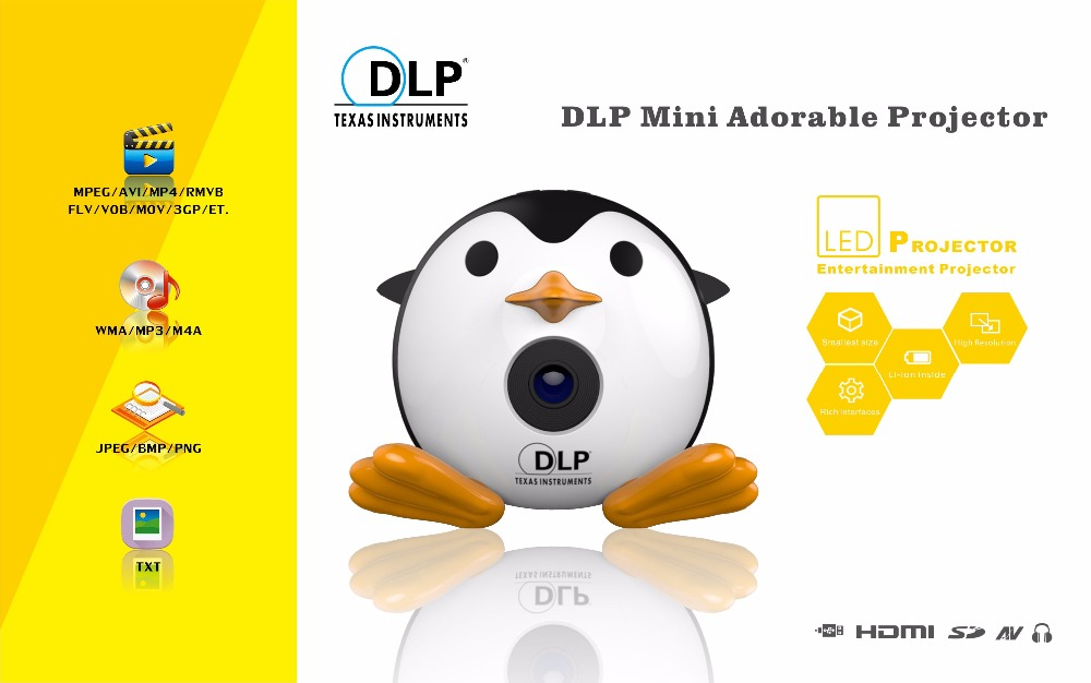 400Lumen Cute Penguin WIFI Micro DLP Mobile LED Projector Support 1080P TF USB HDMI AV & IOS Android Input with Battery Built-in_11