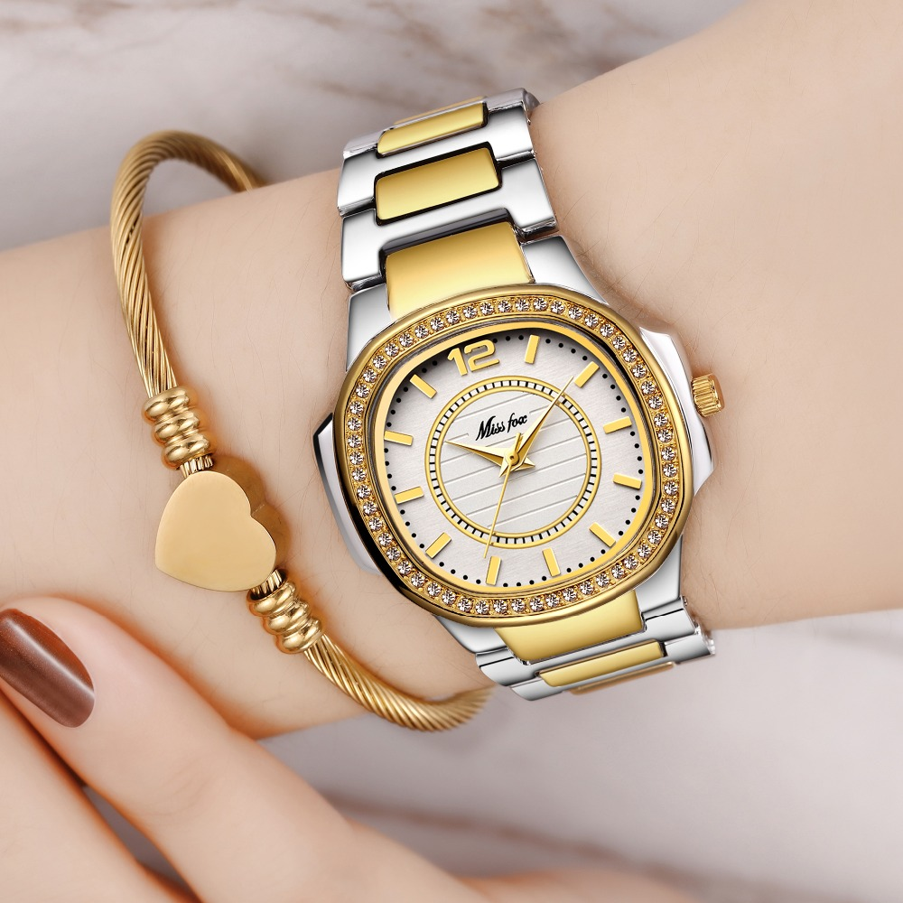 Dropshipping New 2019 Hot Selling Wrist Watches For Women Stainless Steel Gold Female Watch Diamond Wristwatch Patek Wrist Watch(China)