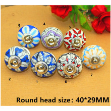 Vintage Furniture Handle Flower Ceramic Knobs and Handles Door Handle Cupboard Drawer Kitchen Pull Knob Furniture Hardware,1PC(China)