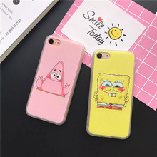 Lover Patrick Star SpongeBob case cover For Coque iPhone7 7plus 5 5s 6 6s 6plus Case TPU & PC Back cover Funda phone bag case