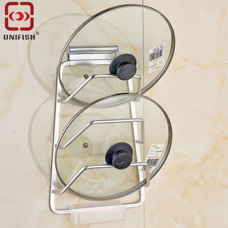 UniFish U205 Kitchen Storage Organizer Pan Cover Holder Space Aluminum Pot Lid Rack Stand Spoon Rest Cover Holder for Kitchen <br><br>Aliexpress