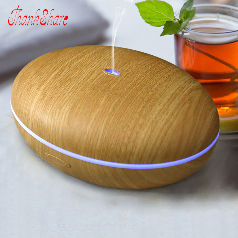 350ml Aroma Diffuser Aromatherapy Wood Grain 7 Colors Essential Oil Diffuser Ultrasonic Humidifier for Office Home Cool Mist<br>