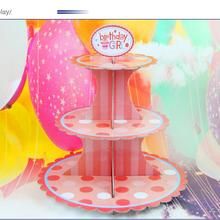 New Children's birthday Party Supplies The New Single product Petal Three Cake stand Fold Paper Crafts 41.5 * 30cm #03(China)