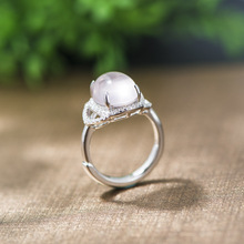 925 Sterling silver Ross quartz stone mosaic fashion ring women classic trendy ring opening fashion Jewelry female rings