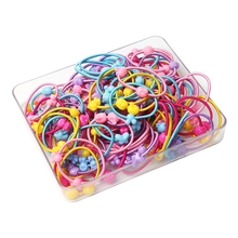 100 Pcs/lot Cartoon Beads Small Elastic Ties Girls' Ponytail Holder Little girls' Fashion Accessories