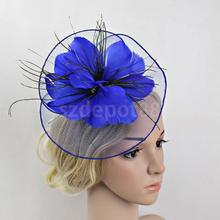 Flower Net Feather Fascinator Big Headband Wedding Bridal Women Tea Party Church Hat