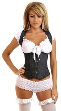 MOONIGHT Sexy Underbust Denim Burlesque Corset Top Basque Underwear Bustier lingerie S M L XL 2XL