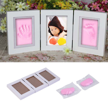 Buy 5 Inch Cute Photo Frame Baby Footprint Foot DIY Hand Print Cast Set Gift Soft Clay Inkpad Baby Photo frame DIY handprint Imprint for $15.53 in AliExpress store