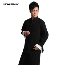 Men Kung Fu Jacket Chinese Tang Suit Clothes Martial Arts Tai Chi Frog Button Cotton Vintage Black 047-4769(China)