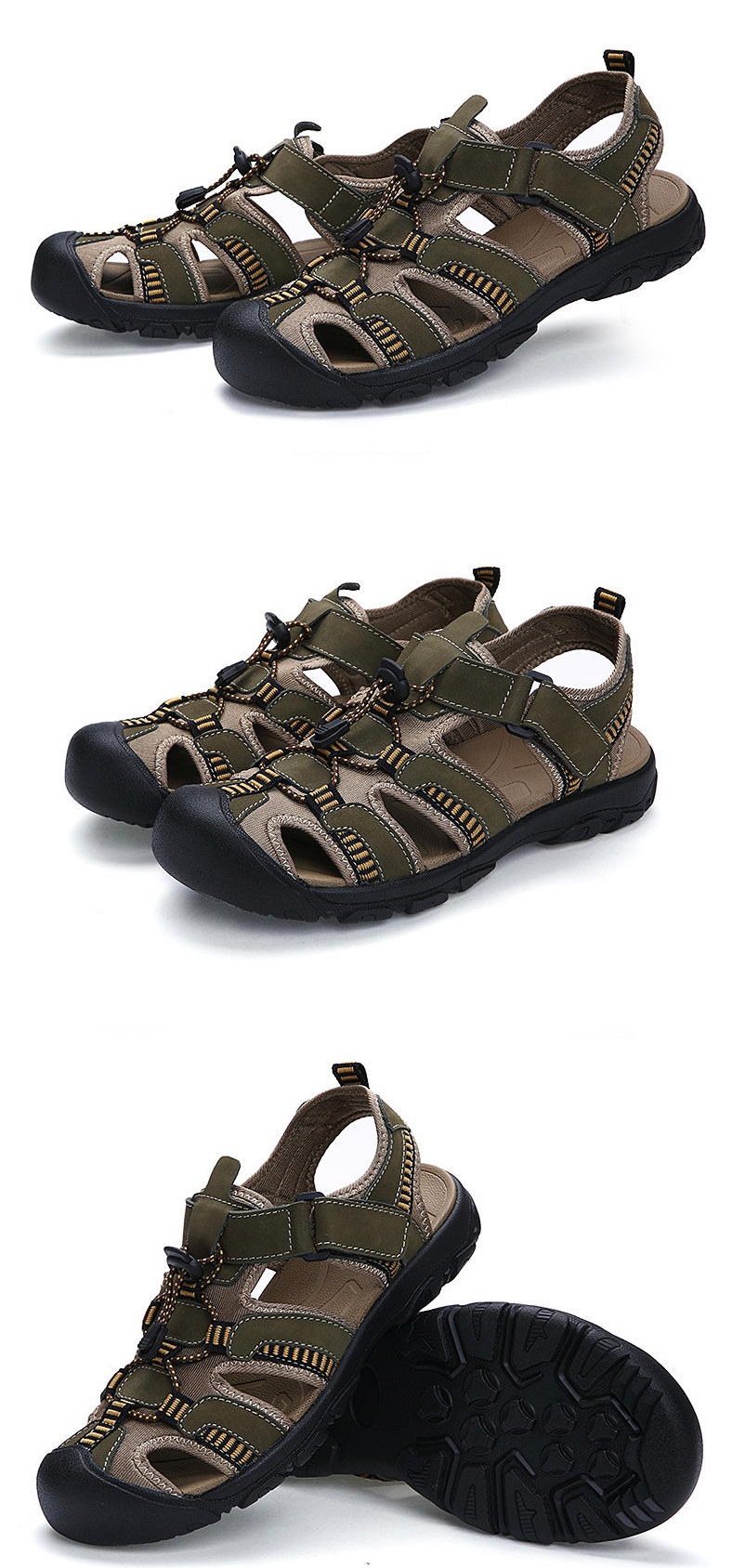 Men Leather Cut Out Fisherman Shoes Male Outdoor Breathable Walking Shoes Men Fashion Soft Sole Antiskid Casual Shoes AA51625 9 Online shopping Bangladesh