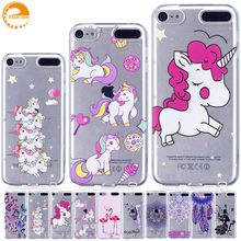 Cartoon Unicorn Transparent Case for coque iPod Touch 5 6 Case Soft Silicone Cover Case for fundas iPod Touch 5 6 Covers Cases(China)