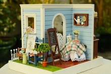 DIY Wooden Dollhouse Miniatures Handcraft 3D Kits -- Room Coner & More Parts/furniture english instruction LED Light