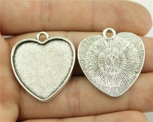 4pcs 25mm Inner Size Vintage Antique Bronze, Antique Silver Color Zinc Alloy Heart Shape Cameo Cabochon Base Setting Blank