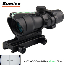 Tactical Hunting Rifle Scope Optic Sight Airsoft ACOG 4X32 Airsoft Scope Real Green Red Fiber Riflescope For Shooting HT6-0006(China)