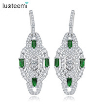 LUOTEEMI New Luxury Excellent Cut CZ Crystal Drop Earrings Green Cubic Zircon Statement Brincos Christmas Gift Jewelry Bijoux
