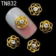10pcs Glitter golden flower 3d Nail Art Decorations, Alloy Nail Sticker Charms Jewelry for Nail Polish Tools TN832(China)