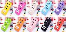"3D Cartoon soft silicone M&M""s Fragrance Chocolate Rainbow Beans Cover Phone Case For iPhone X 8 7 6 6S Plus 5 5s SE 4 4s(China)"